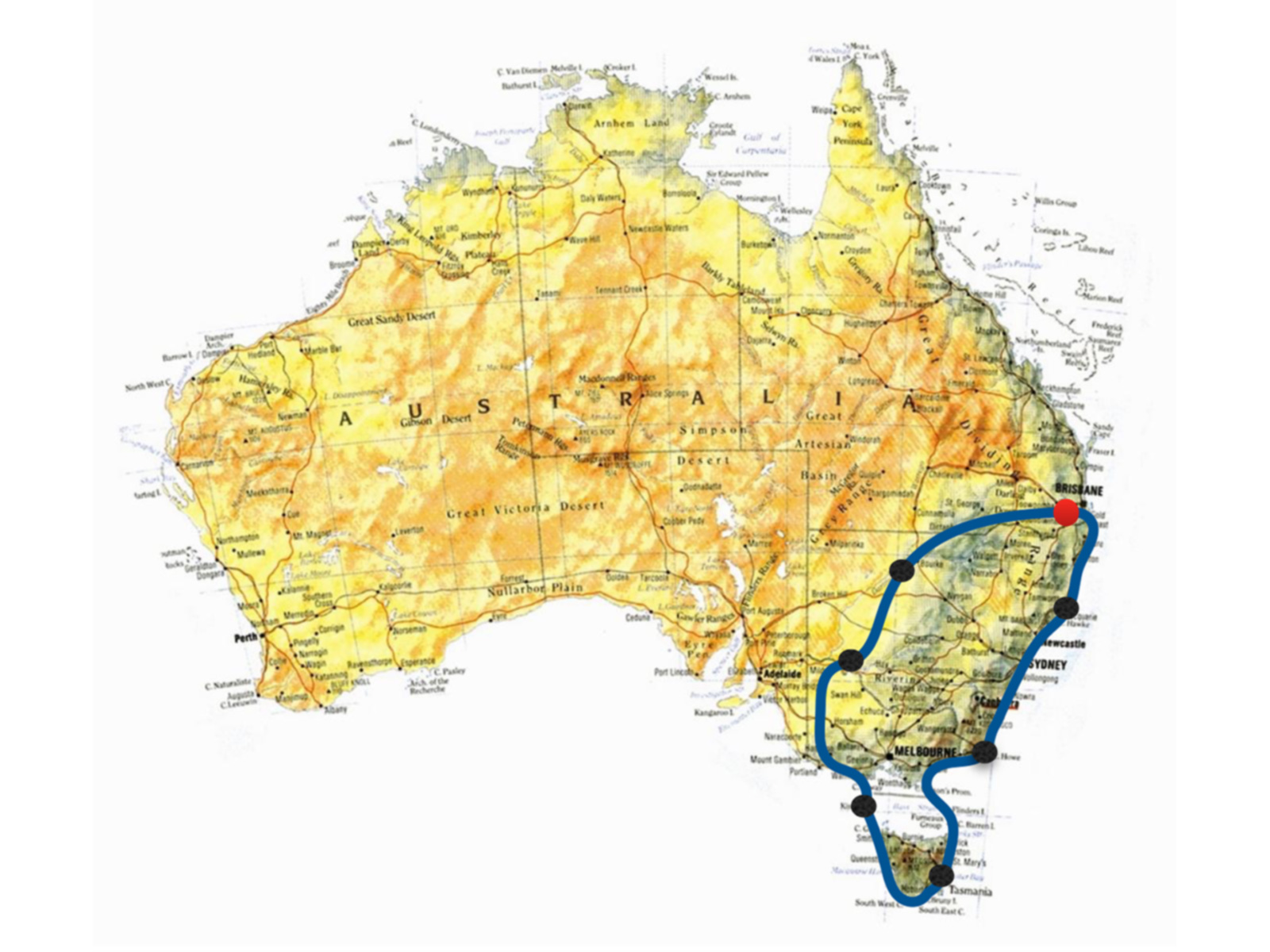 Southeast & Tasmania Adventurer map: Air Safaris International