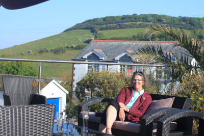 Relaxing at Gorran Haven, Cornwall.