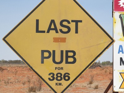 Roadside sign in the Simpson Desert