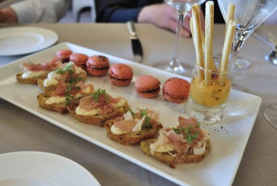 Appetizers at Chateau d'Audrieu