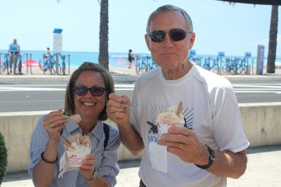 Enjoying ice cream in Nice